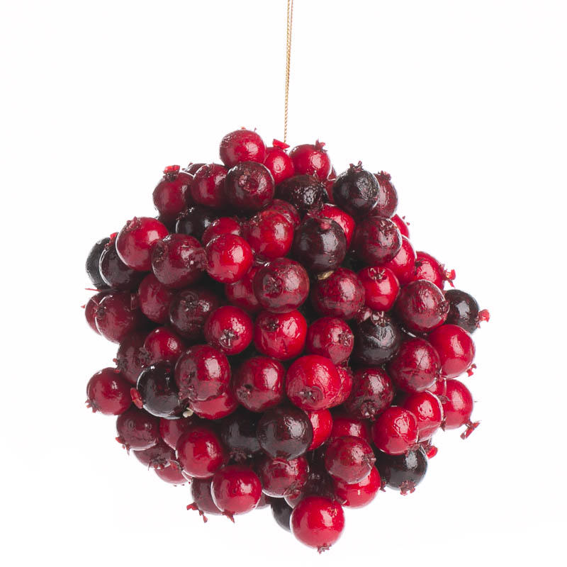 Burgundy Artificial Berry Ball Ornament Christmas