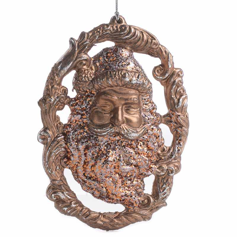 Vintage Inspired Copper Santa Ornament Christmas