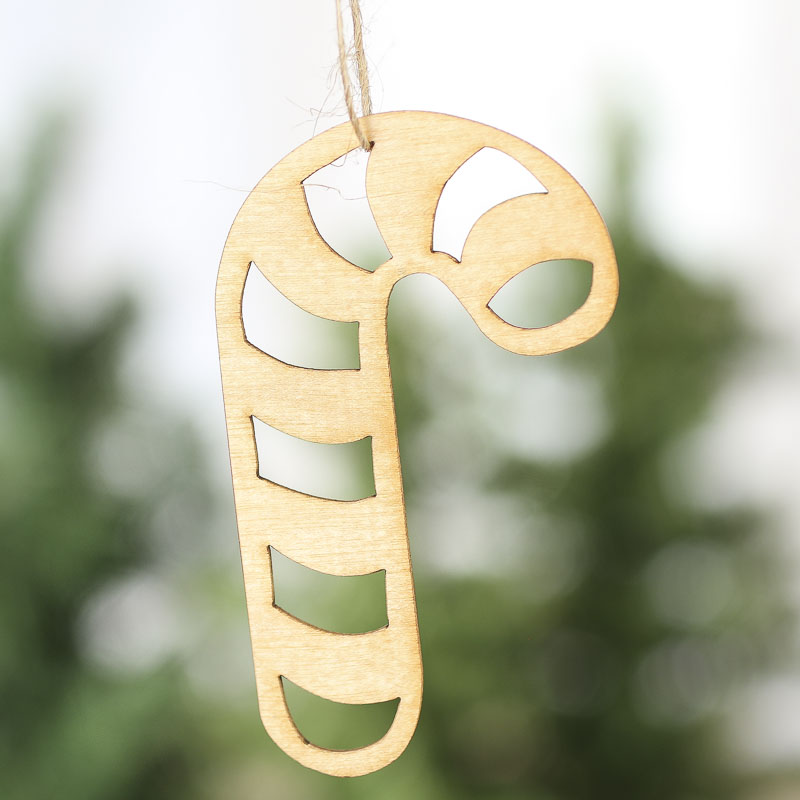 Unfinished Wood Laser Cut Candy Cane Ornaments Christmas