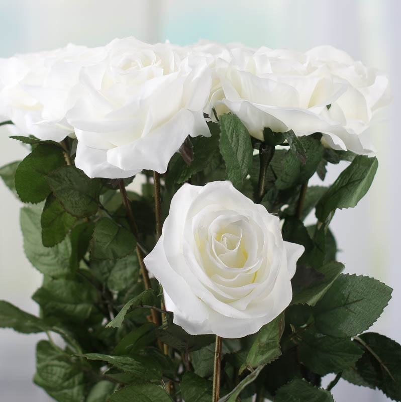 White Artificial Long Stem Roses Picks Sprays Floral Supplies Craft Supplies