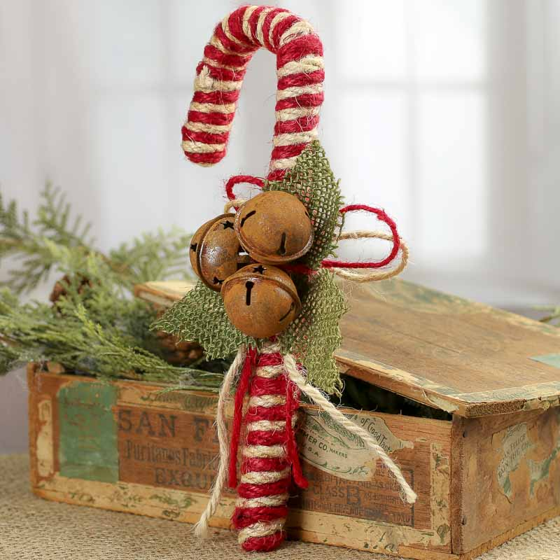 Primitive Jute Candy Cane Christmas Ornaments