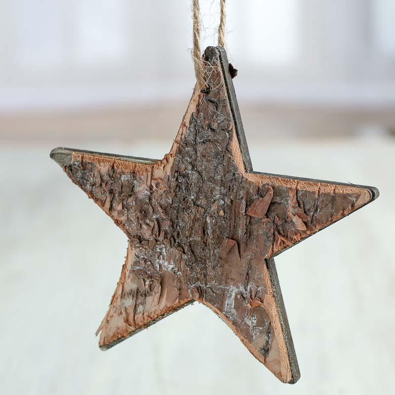 Rustic Birch Star Ornaments Christmas Ornaments