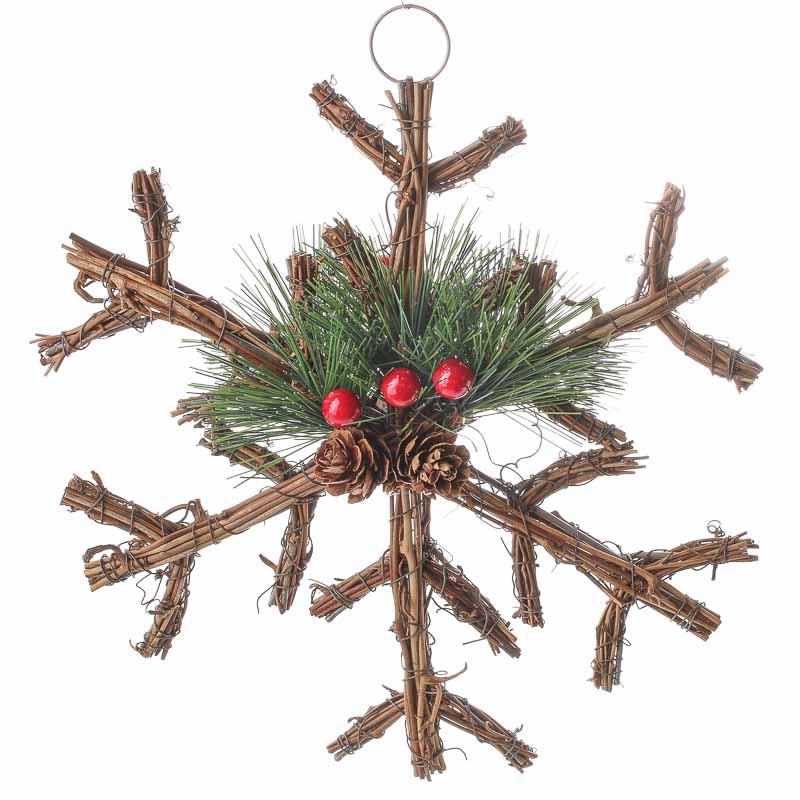 Woodland Twig And Pine Snowflake Ornament Christmas