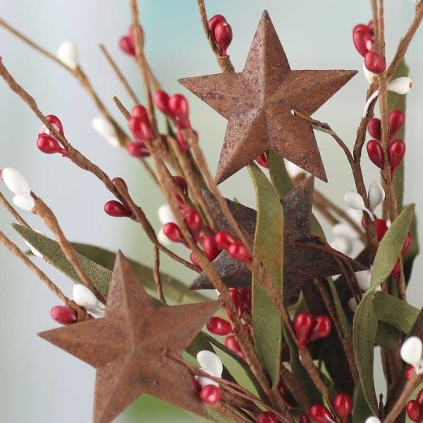 Red and White Pip Berry and Rusty Star Spray - Picks ...