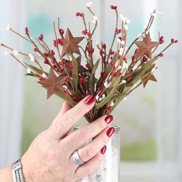 Red and White Pip Berry and Rusty Star Spray - Picks and ...