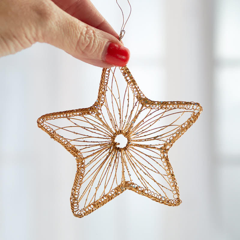 Gold Wire Star Ornament Christmas Ornaments Christmas