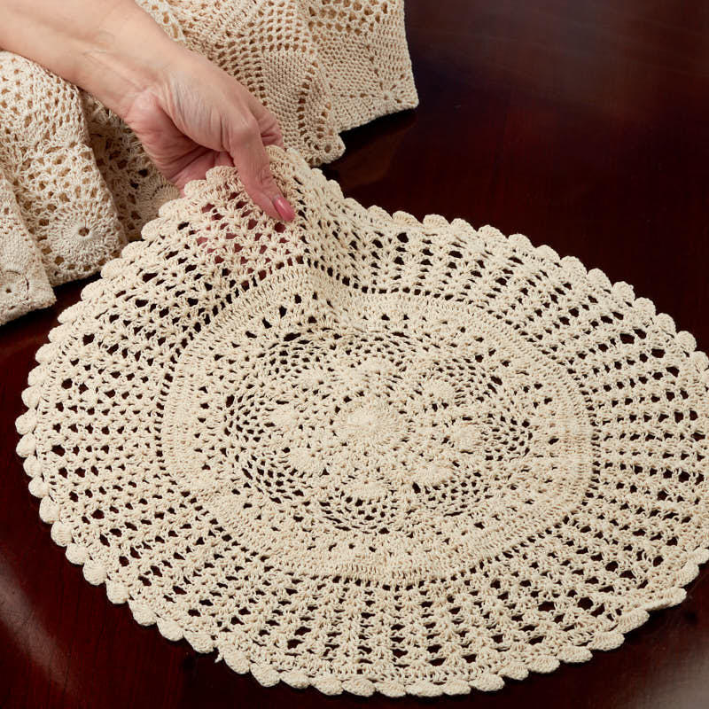 Ecru Round Crocheted Doily Crochet And Lace Doilies Home Decor