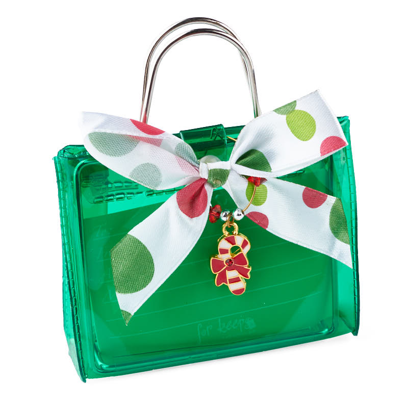 Green Gift Card Holder With Candy Cane Ornament Bags