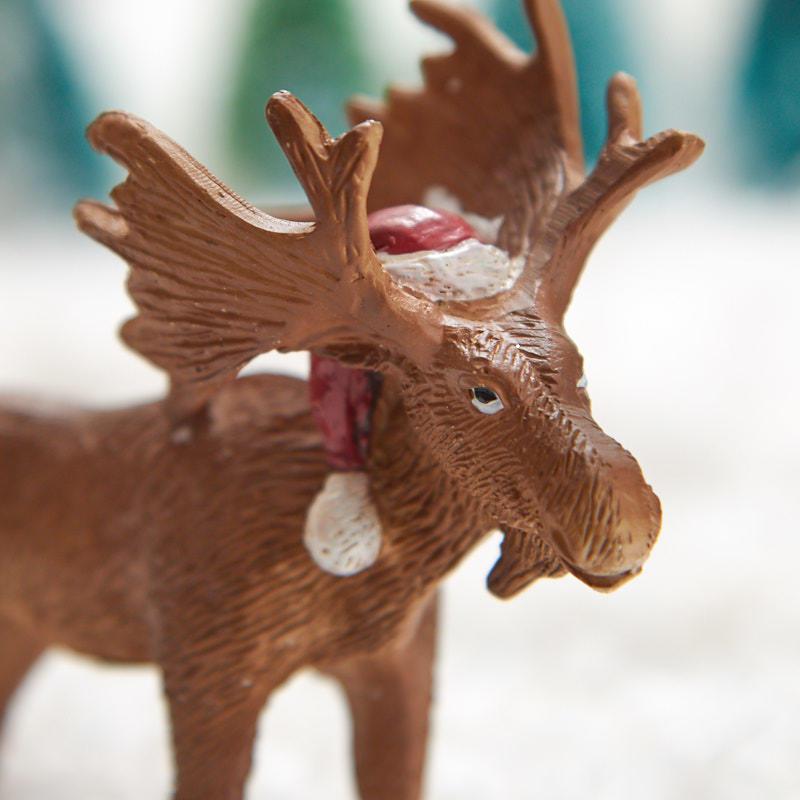 Miniature Moose With Christmas Santa Hat Christmas
