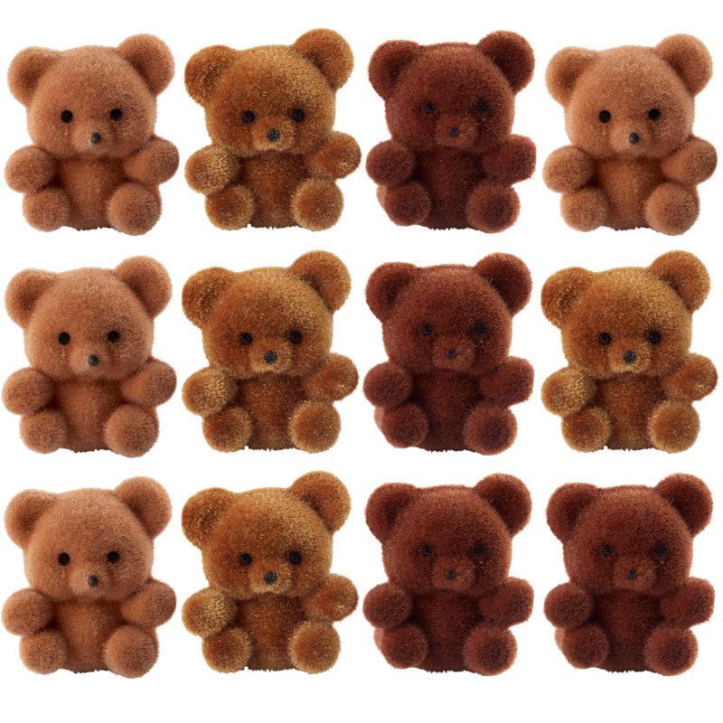 Miniature Brown Flocked Teddy Bears Christmas Miniatures