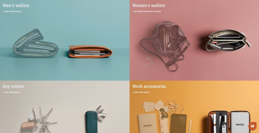 Bellroy Home page Feature: Before and After