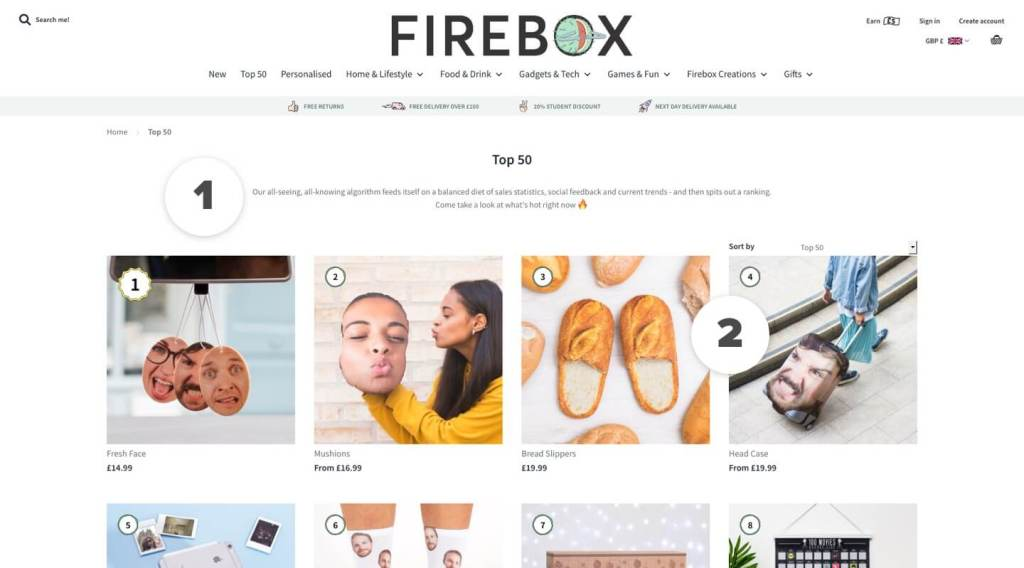 Firebox Top 50 Products (PLP)