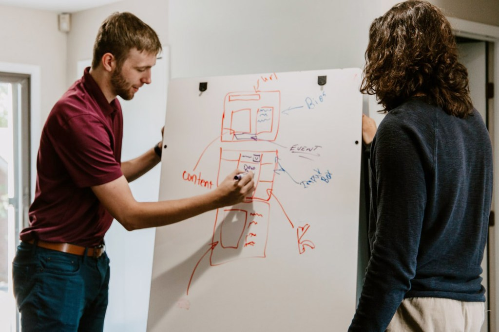 Two people writing content strategy