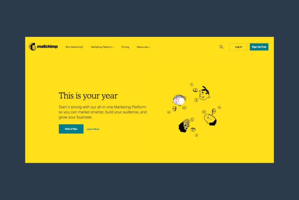 Mailchimp webpage screenshot