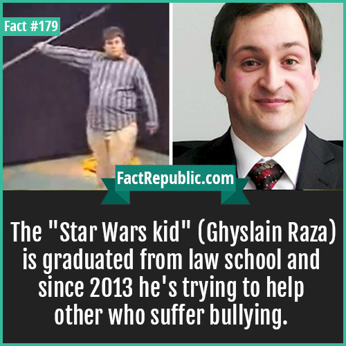 179. star war kid ghyslain raza-The 'Star Wars kid' (Ghyslain Raza) is graduated from law school and since 2013 he's trying to help other who suffer bullying.