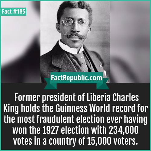 185. Fraud president charles-Fraud president charles-Former president of Liberia Charles King holds the Guinness World record for the most fraudulent election ever having won the 1927 election with 234,000 votes in a country of 15,000 voters.