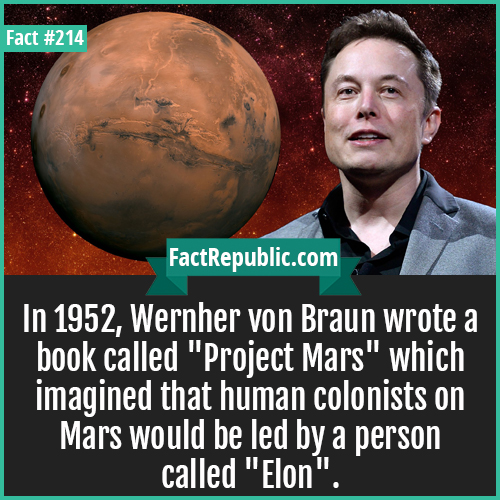 214. Elon Musk Mars project-In 1952, Wernher von Braun wrote a book called 'Project Mars' which imagined that human colonists on Mars would be led by a person called 'Elon'.