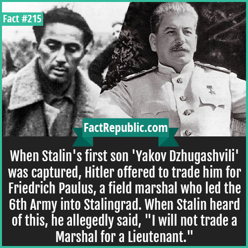 215. Stalins Son Yakov-When Stalin's first son 'Yakov Dzhugashvili' was captured, Hitler offered to trade him for Friedrich Paulus, a field marshal who led the 6th Army into Stalingrad. When Stalin heard of this, he allegedly said, 'I will not trade a Marshal for a Lieutenant.'