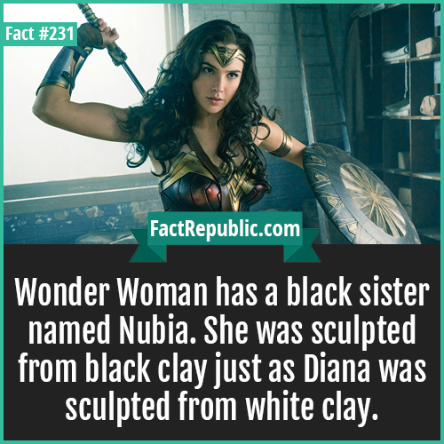 231-WONDER WOMAN-Wonder Woman has a black sister named Nubia. She was sculpted from black clay just as Diana was sculpted from white clay.