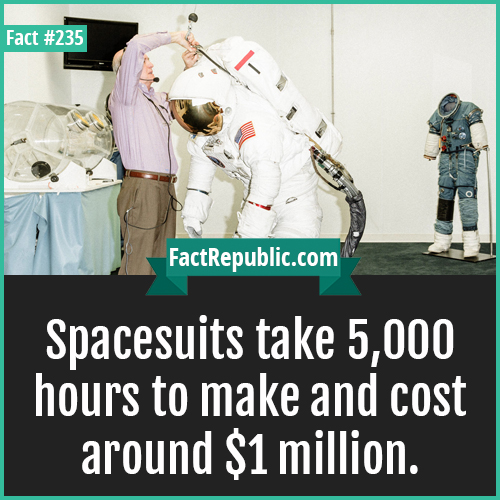 235-SPACESUITS-Spacesuits take 5,000 hours to make and cost around $1 million.