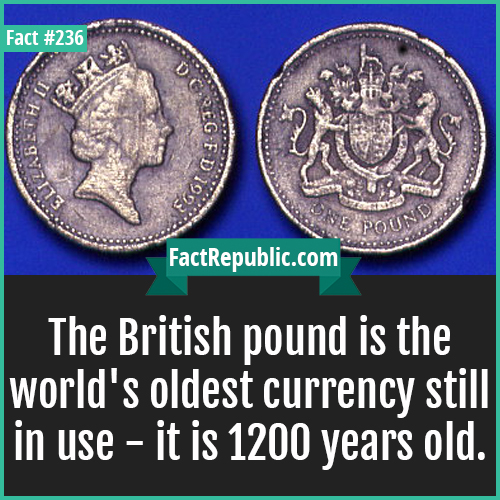 236-BRITISH POUNDS-The British pound is the world's oldest currency still in use - it is 1200 years old.