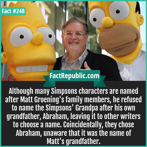 248. Matt groening-Although many Simpsons characters are named after Matt Groening's family members, he refused to name the Simpsons' Grandpa after his own grandfather, Abraham, leaving it to other writers to choose a name. Coincidentally, they chose Abraham, unaware that it was the name of Matt's grandfather.