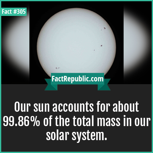305. Sun-Our sun accounts for about 99.86% of the total mass in our solar system.