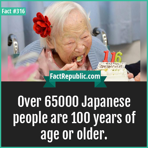 316-Japanese oldppl-Over 65000 Japanese people are 100 years of age or older.
