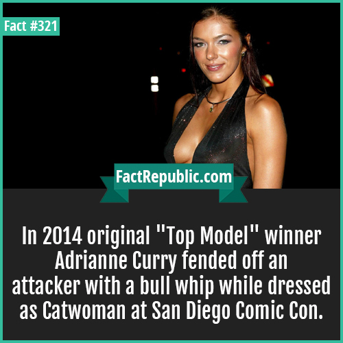 321. Curry-In 2014 original 'Top Model' winner Adrianne Curry fended off an attacker with a bull whip while dressed as Catwoman at San Diego Comic Con.