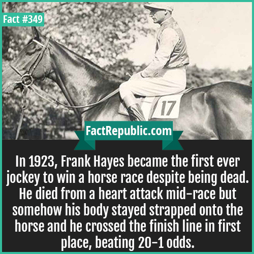 349. Frank Hayes-In 1923, Frank Hayes became the first ever jockey to win a horse race despite being dead. He died from a heart attack mid-race but somehow his body stayed strapped onto the horse and he crossed the finish line in first place, beating 20-1 odds.