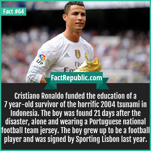 64. Cristiano Ronaldo-Cristiano Ronaldo funded the education of a 7 year-old survivor of the horrific 2004 tsunami in Indonesia. The boy was found 21 days after the disaster, alone and wearing a Portuguese national football team jersey. The boy grew up to be a football player and was signed by Sporting Lisbon last year.