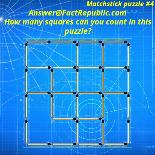 Matchstick puzzle #4 Answer. How many squares can you count in this puzzle?
