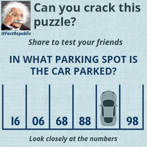 Parking Puzzle. Can you crack this puzzle? Share to test your friends. In what parking spot is the car parked? Look closely at the numbers?