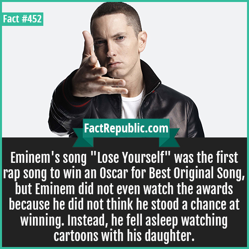 452. Eminem-Eminem's song 'Lose Yourself' was the first rap song to win an Oscar for Best Original Song, but Eminem did not even watch the awards because he did not think he stood a chance at winning. Instead, he fell asleep watching cartoons with his daughter.
