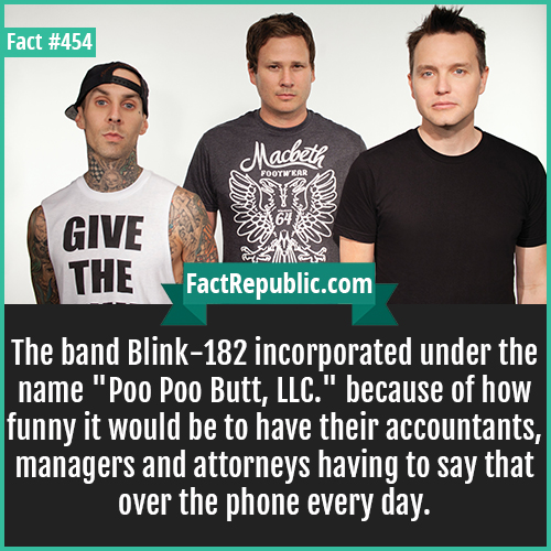 454. Blink 182-The band Blink-182 incorporated under the name 'Poo Poo Butt, LLC.' because of how funny it would be to have their accountants, managers and attorneys having to say that over the phone every day.