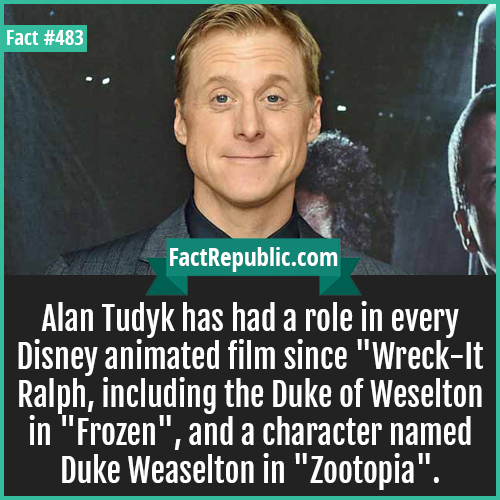 483. Alan Tudyk-Alan Tudyk has had a role in every Disney animated film since 'Wreck-It Ralph', including the Duke of Weselton in 'Frozen', and a character named Duke Weaselton in 'Zootopia'