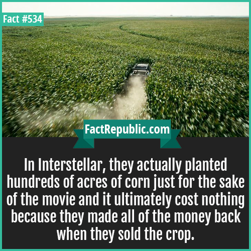 534. Interstellar-In Interstellar, they actually planted hundreds of acres of corn just for the sake of the movie and it ultimately cost nothing because they made all of the money back when they sold the crop.