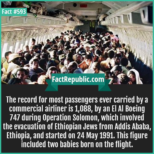 593. Most passengers carried-The record for most passengers ever carried by a commercial airliner is 1,088, by an El Al Boeing 747 during Operation Solomon, which involved the evacuation of Ethiopian Jews from Addis Ababa, Ethiopia, and started on 24 May 1991. This figure included two babies born on the flight.