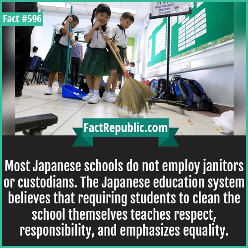 596-Japanese schools-Most Japanese schools do not employ janitors or custodians. The Japanese education system believes that requiring students to clean the school themselves teaches respect, responsibility, and emphasizes equality.
