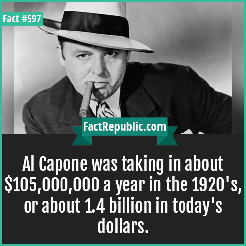 597. Al capone-Al Capone was taking in about $105,000,000 a year in the 1920's, or about 1.4 billion in today's dollars.