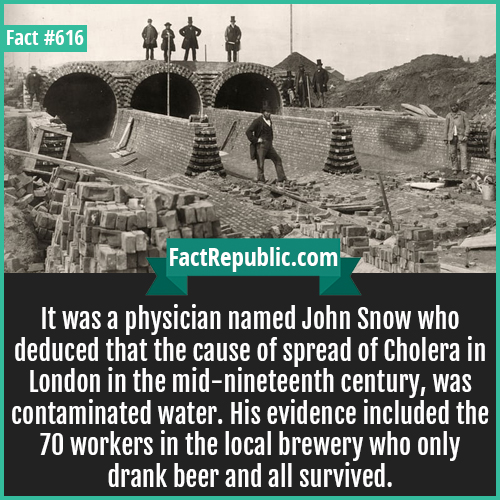 616. Cholera londan-It was a physician named John Snow who deduced that the cause of spread of Cholera in London in the mid-nineteenth century, was contaminated water. His evidence included the 70 workers in the local brewery who only drank beer and all survived.
