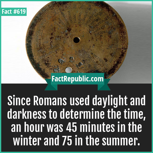 619. Romans daylight-Since Romans used daylight and darkness to determine the time, an hour was 45 minutes in the winter and 75 in the summer.