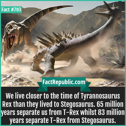 703. Tyrannosaurus Rex vs Stregosaurus-We live closer to the time of Tyrannosaurus Rex than they lived to Stegosaurus. 65 million years separate us from T-Rex whilst 83 million years separate T-Rex from Stegosaurus.