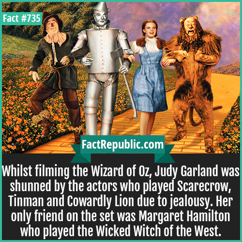 735. Wizard of Oz-Whilst filming the Wizard of Oz, Judy Garland was shunned by the actors who played Scarecrow, Tinman and Cowardly Lion due to jealousy. Her only friend on the set was Margaret Hamilton who played the Wicked Witch of the West.