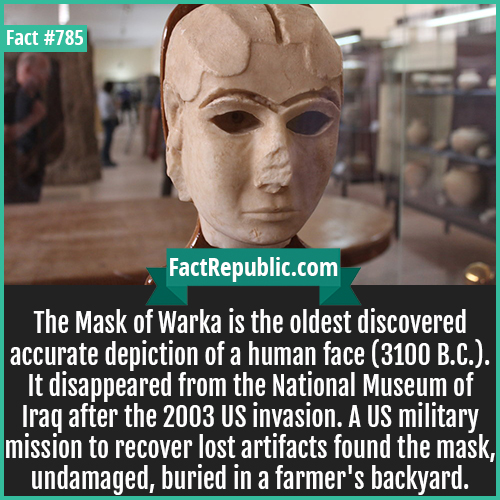 785. Mask of Warka-The Mask of Warka is the oldest discovered accurate depiction of a human face (3100 B.C.). It disappeared from the National Museum of Iraq after the 2003 US invasion. A US military mission to recover lost artifacts found the mask, undamaged, buried in a farmer's backyard.
