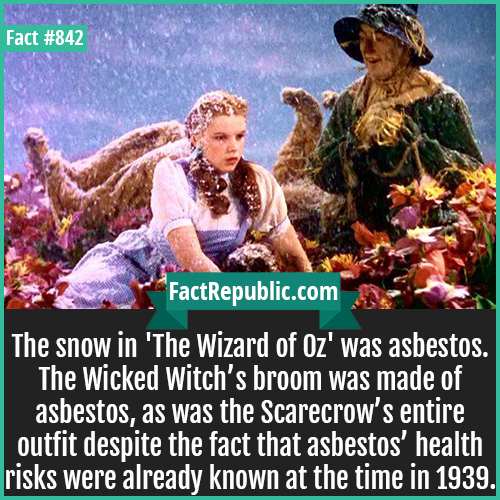842. The Wizard of Oz-The snow in 'The Wizard of Oz' was asbestos. The Wicked Witch's broom was made of asbestos, as was the Scarecrow's entire outfit despite the fact that asbestos' health risks were already known at the time in 1939.