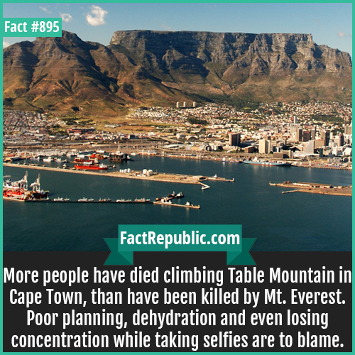 895. Table Mountain Deaths-More people have died climbing Table Mountain in Cape Town, than have been killed by Mt. Everest. Poor planning, dehydration and even losing concentration while taking selfies are to blame.