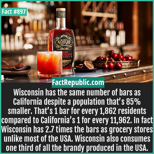 897. Wisconsin Drinking Statistics-Wisconsin has the same number of bars as California despite a population that's 85% smaller. That's 1 bar for every 1,862 residents compared to California's 1 for every 11,962. In fact Wisconsin has 2.7 times the bars as grocery stores unlike most of the USA. Wisconsin also consumes one third of all the brandy produced in the USA.