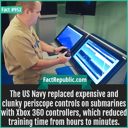 952. XBox Submarine Controller-The US Navy replaced expensive and clunky periscope controls on submarines with Xbox 360 controllers, which reduced training time from hours to minutes.