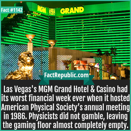 1142. MGM Grand Casino-Las Vegas's MGM Grand Hotel & Casino had its worst financial week ever when it hosted American Physical Society's annual meeting in 1986. Physicists did not gamble, leaving the gaming floor almost completely empty.